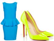 Topshop Peplum Scuba Pencil Dress and Christian Louboutin Neon Yellow Heels